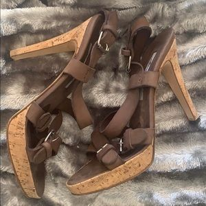 Brian Atwood leather brown heel sandals sz 39